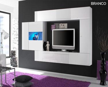 Móvel TV Suspenso e Coluna Living Basic c/ LED   Escolha a Cor