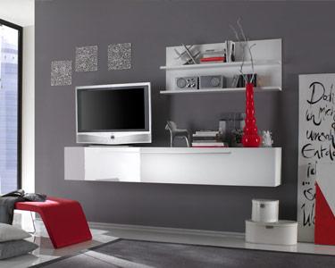 Móvel TV Suspenso e Prateleiras Living Basic | Branco Brilhante