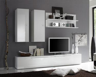 Sala Living Basic Branco Brilhante | Vários Compartimentos