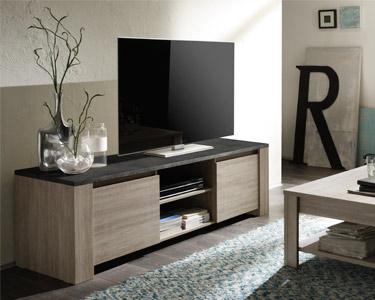 Móvel de TV Living Elba c/ Tampo Cinza | 2 Portas