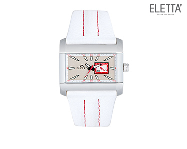 Relógio Eletta® Square   Branco e Vermelho