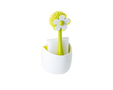 Conjunto Escova e Esponja Vigar® | Verde e Branco