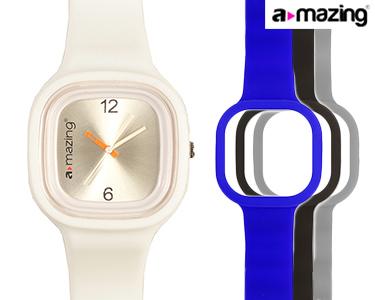 Relógio A-mazing® Branco c/ 3 Braceletes | Cinzento, Preta, Azul Escuro