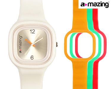 Relógio A-mazing® Branco c/ 3 Braceletes | Vermelho, Verde, Laranja