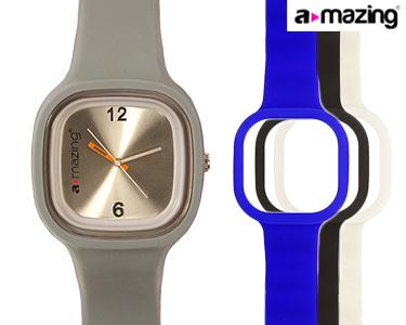 Relógio A-mazing® Cinza c/ 3 Braceletes | Branca, Preta, Azul Escuro