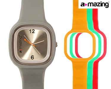 Relógio A-mazing® Cinza c/ 3 Braceletes | Vermelho, Verde, Laranja