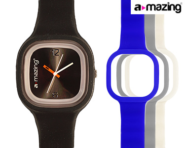 Relógio A-mazing® Preto c/ 3 Braceletes | Branca, Cinzenta, Azul Escuro