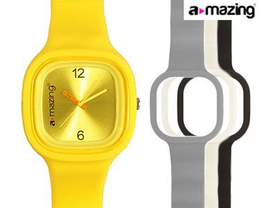 Relógio A-mazing® Amarelo c/ 3 Braceletes | Branca, Preta, Cinzento