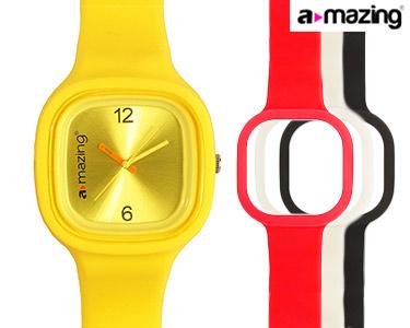 Relógio A-mazing® Amarelo c/ 3 Braceletes | Branca, Preta, Vermelha