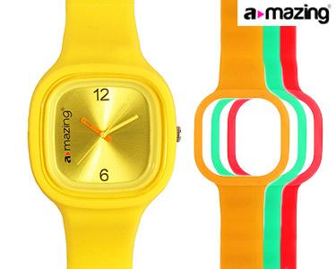 Relógio A-mazing® Amarelo c/ 3 Braceletes | Vermelho, Verde, Laranja