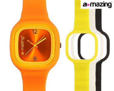Relógio A-mazing® Laranja c/ 3 Braceletes | Branca, Preta, Amarela