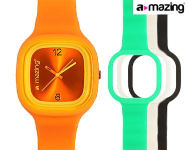 Relógio A-mazing® Laranja c/ 3 Braceletes | Branca, Preta, Verde