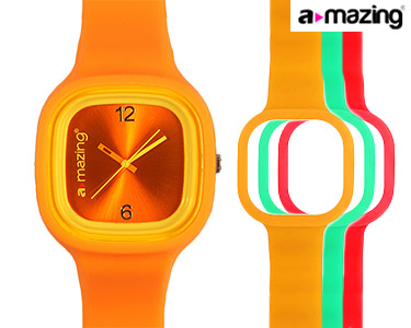 Relógio A-mazing® Laranja c/ 3 Braceletes   Vermelho, Verde, Amarela