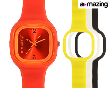 Relógio A-mazing® Vermelho c/ 3 Braceletes | Branca, Preta, Amarela