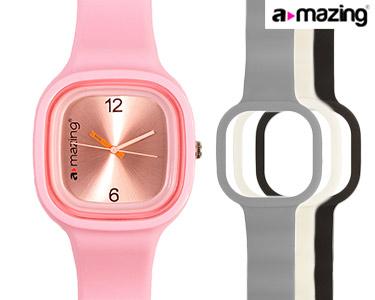 Relógio A-mazing® Rosa Claro c/ 3 Braceletes   Branca, Preta, Cinzenta