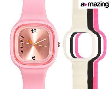 Relógio A-mazing® Rosa Claro c/ 3 Braceletes | Branca, Preta, Rosa Escuro