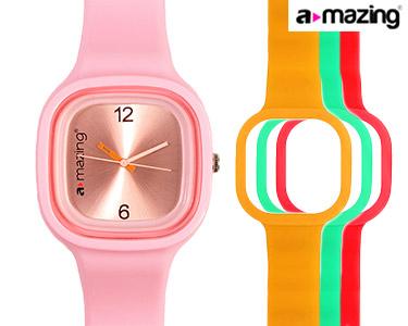 Relógio A-mazing® Rosa Claro c/ 3 Braceletes | Vermelho, Verde, Laranja