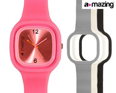Relógio A-mazing® Rosa Escuro c/ 3 Braceletes   Branca, Preta, Cinzenta