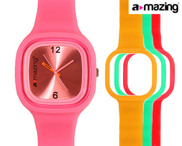 Relógio A-mazing® Rosa Escuro c/ 3 Braceletes | Vermelho, Verde, Laranja