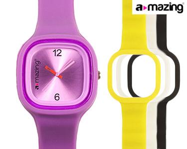 Relógio A-mazing® Roxo c/ 3 Braceletes   Branca, Preta, Amarela