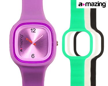 Relógio A-mazing® Roxo c/ 3 Braceletes | Branca, Preta, Verde