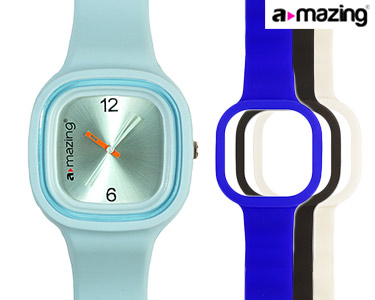 Relógio A-mazing® Azul Claro c/ 3 Braceletes   Branca, Preta, Azul Escuro