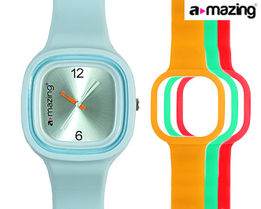 Relógio A-mazing® Azul Claro c/ 3 Braceletes   Vermelho, Verde, Laranja