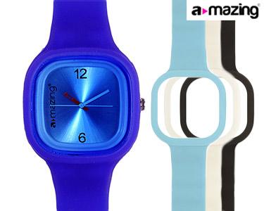 Relógio A-mazing® Azul Escuro c/ 3 Braceletes | Branca, Preta, Azul Claro