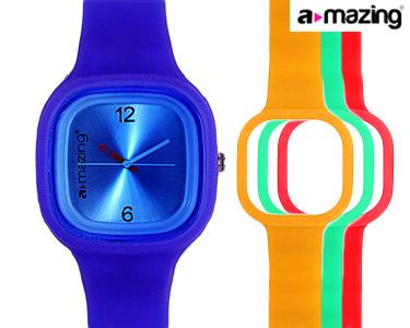 Relógio A-mazing® Azul Escuro c/ 3 Braceletes | Vermelho, Verde, Laranja