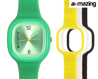 Relógio A-mazing® Verde c/ 3 Braceletes | Branca, Preta, Amarela
