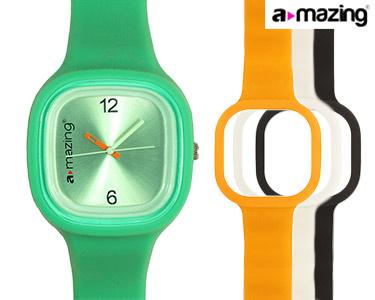 Relógio A-mazing® Verde c/ 3 Braceletes | Branca, Preta, Laranja
