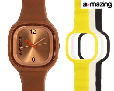 Relógio A-mazing® Castanho c/ 3 Braceletes | Branca, Preta, Amarela