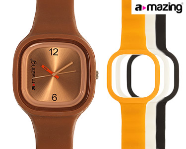 Relógio A-mazing® Castanho c/ 3 Braceletes | Branca, Preta, Laranja