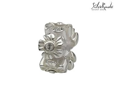 Conta Flor c/ Cristal Silverado®   Prata de Lei