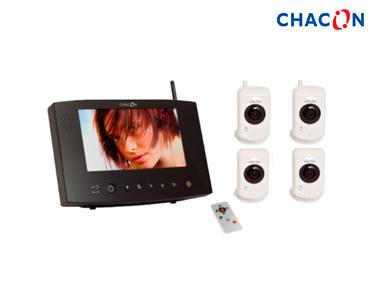 Chacon® Videovigilância Ecrã 7´´ 4 Câmaras Digitais s\fios | Visão Nocturna