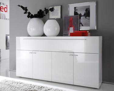 Aparador Living Basic c/ 4 Portas | Branco Brilhante