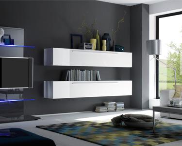 Móvel TV Suspenso Living Basic Branco Brilhante