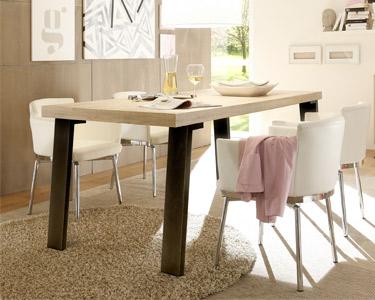 Mesa de Jantar Palma em Madeira c/ Pernas em Metal Cinza