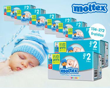 136 ou 272 Fraldas Moltex Premium Recém Nascido 3-6Kg