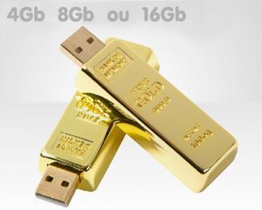Pen USB Barra de Ouro | Escolha 4, 8 ou 16 GB