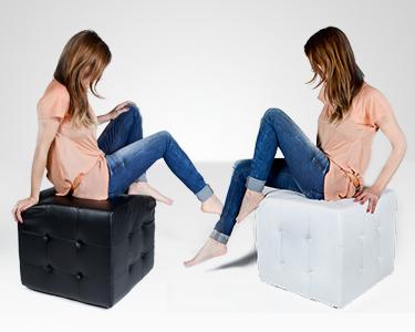 Puff Cúbico - Design de Edição Limitada   Preto ou Branco