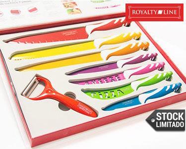Royalty Line | Kit 7 Facas + Descascador | Revestimento de Cerâmica