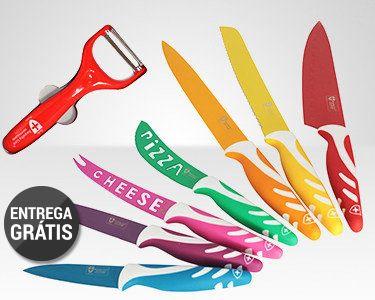 Kit 7 Facas & Descascador com Revestimento Cerâmico | Oferta Premium