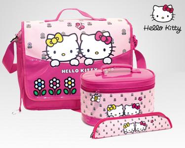 Conjunto Hello Kitty Spring | Mala - Lancheira - Porta-Flauta