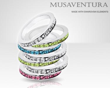 Anéis com Swarovski Elements® banhados a Ouro Branco - 18K