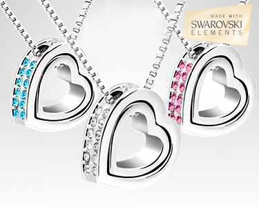 Coração com Swarovski Elements® banhado a ouro branco 18K - 3 cores