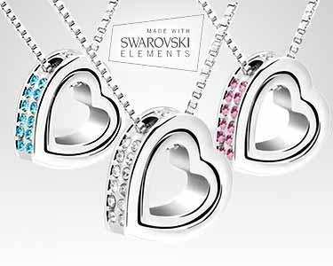 Coração com Swarovski® Elements banhado a ouro branco 18K - 3 cores