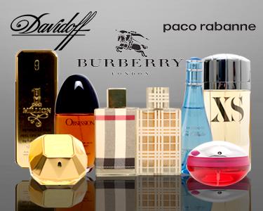 Paco Rabanne®, Davidoff® e Burberry® Fragrâncias