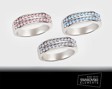 Anéis c/ Cristais Swarovski Elements®   Banhados a Prata