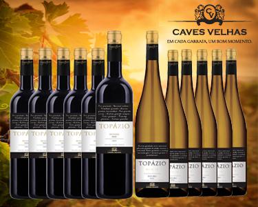 Caixa 6 Garrafas Vinho Topázio DOC Douro | Escolha Tinto ou Branco